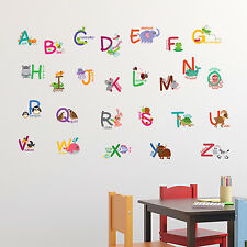 Fauna Animal Alphabet Wall Stickers Educational Decals for Kids Nursery learning