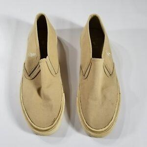 VTG 90s Polo Ralph Lauren Tan beige Canvas Slip on Shoes Mens US 10.5  Pony logo