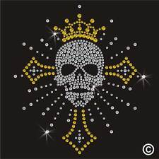 Cráneo Cruz De Diamantes De Imitación Diamante transferencia hierro en la revisión de Gema De Cristal Camiseta Adorno