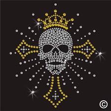 Cross Skull Rhinestone Diamante Transfer Iron On Hotfix Gem Crystal TShirt Motif