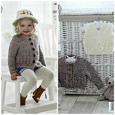 KNITTING PATTERN Girls Cable & Bobble Cardigan & Jumper Aran King Cole 4919