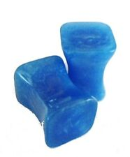 PAIR-Square Pearl Blue Acrylic Double Flare Plugs 06mm/2 Gauge Body Jewelry