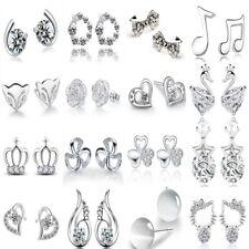 925 Sterling Silver Plated Earrings Stud Studs Round Jewelry Women Ear Fashion