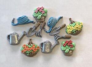 12 GARDENING TOOLS FLOWERS  EDIBLE SUGARPASTE ICING BIRTHDAY CAKE TOPPERS