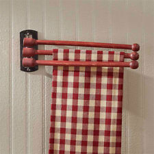Three Prong Adjustable Red Wood Towel Rack - Kitchen Wall Decor by Park Designs