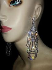 Long Drop Chandelier Earrings Silver Clear Crystal Wedding Bridal Evening Pierce