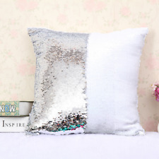 "16"" Magic Mermaid Pillow Case Reversible Sequin Glitter Sofa Cushion Cover #JG"