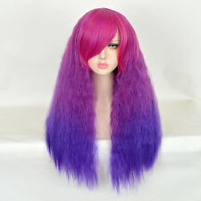 EMO WIG CHIC MULTI COLOR LONG KINKY WATER WAVE PURPLE NO LACE WIGS AFRO