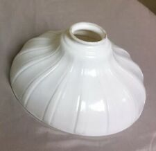 """Antique Flat Rib White Pendant Industrial Camphor Glass Lamp Shade 2 1/4"""" Fitter"""