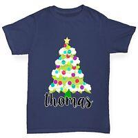 Twisted Envy Personalised Cartoon Christmas Tree Boy's Funny T-Shirt