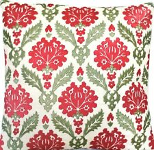 Embroidered Carnation Cushion Cover Throw Pillow Case Vaughan Linen Fabric 16""