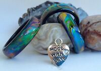 Genuine Black Agate Colour Changing Mood Ring + Heart Pendant