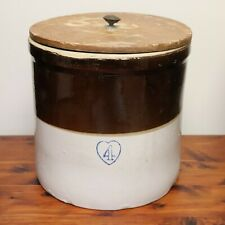 Antique Burley Winter Pottery Blue Heart 4 Gallon Brown & White Stoneware Crock