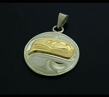 "Native American Orca Whale Pendant 14k Solid Gold and Sterling Silver 1"" Round"