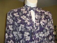 NWT Jones New York 2013 Collection Ruffle Tie Neck Blouse, Purples, Plus Size 24