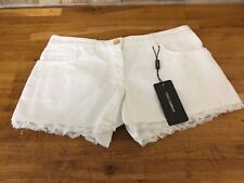 Dolce & Gabbana White Denim Shorts with Lace Trim Size UK 8/IT 40