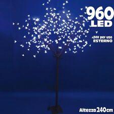 Albero di Natale Luminoso Ciliegio per Esterno 960 LED H 240 CM Bianco Freddo