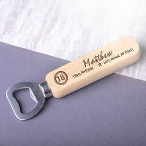 Personalised 18th 21st 30th 50th Birthday Gifts for Him Wooden Bottle Opener