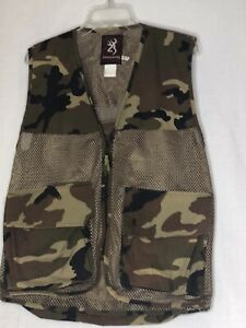 Browning Camouflage Hunting Vest Game Bird Fowl Mesh & Duck Canvas Unisex Small