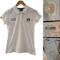 Emporio Armani EA7 White Short Sleeve Polo Shirt Top Sz Small Italia Team. New.