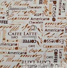 BonEful Fabric FQ Cotton Quilt Cream Brown Tan Coffee House Word Blend Espresso
