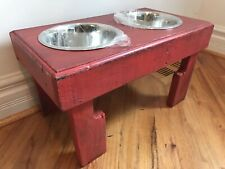 """2 Bowl Elevated Rustic Dog Bowl Stand 21"""" L X 12"""" W X 12"""" T Distressed Red"""