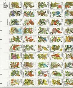 1982 20 cent Birds and Flowers full Sheet of 50 Scott #1953-2002, Mint NH