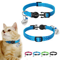 Nylon Breakaway Cat Collar with Bell Personalized Heart Tag Cat ID Name Tag