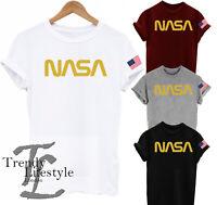 NASA SPACE WORD LOGO IN GOLD  ASTRONAUT PRINT  AMERICAN USA FLAG UNISEX T-SHIRT