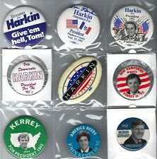 1992 CAMPAIGN BUTTONS ON A PAGE COLLECTION - HARKIN, KERREY & GEPHARDT