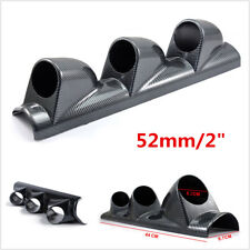 New Carbon Fiber Look Car Dash 3 Hole Triple Gauge Meter Mount Holder Pod 52mm