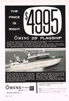 1961 OWENS 25' Flagship Sea Skiff Cruiser Boat Vtg Print Ad
