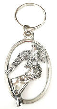 Falcon on Glove Bird of Prey Falconry Handcrafted from Pewter In the UK KeyRing1