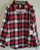 NEW Old Navy Boys 5T Long Sleeve Plaid Flannel Shirt & Bow Tie RED Holiday