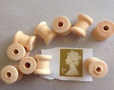 10 × Small Miniature Wooden spools cotton reels  cylinders approx 14×12 mm. UK
