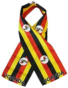 """Uganda Country Lightweight Flag Printed Knitted Style Scarf 8""""x60"""""""