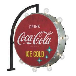 Coca Cola Round Vintage Marquee LED Lights Sign Wall Art.