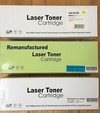 3 x OKI C610 Laser Toner Cartridges Remanufactured Black Cyan Yellow
