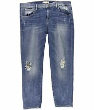 GUESS Womens Distressed Straight Leg Jeans blue 31x27