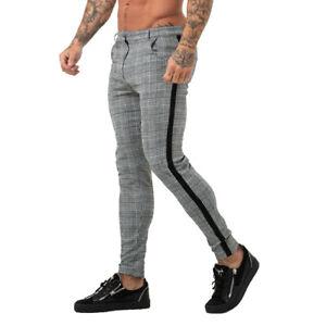 GINGTTO Mens Skinny Fit Chino Stretch Gray Plaid Check Casual Super Slim Trouser