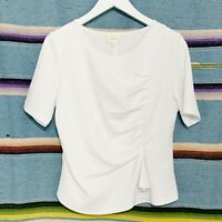 Anthropologie Top Size Large Petite LP White Textured Knit Gathered Draped