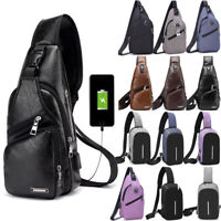 Men Anti Theft Sling Chest Pack Charging Camping Crossbody Shoulder USB Port New