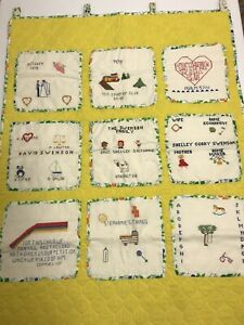 Vintage Handmade Story Quilt Wall Hanging Cross Stitch Fabric Fruit Yellow Green