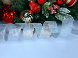 CHRISTMAS WIRED EDGE RIBBON 1.5 IN WIDE SILVER TREE WRAP GIFT WRAPPING BULK