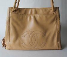 Auth CHANEL CC Logo Beige Soft Leather Tote Handbag with Tassel