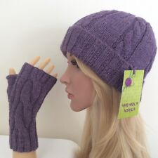 HAND KNITTED LADIES  ARAN  WOOL-ALPACA CABLED BEANIE & FINGERLESS GLOVES SET