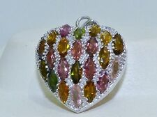 GENUINE! 4.84tcw Tourmaline Filigree Puffy Heart Pendant, Solid Silver 925!