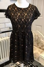 La Redoute, Size 18, Nude/Black Lace Overlay, Fit & Flare Dress