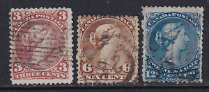 Canada Large Queen Stamps #25, 27 and 28  All Used  HICV  See*
