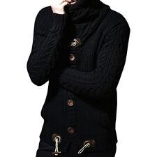 Men Thick Coat Cashmere Turtleneck Sweater Cardigan Knotwear Wool Jacket Outwear